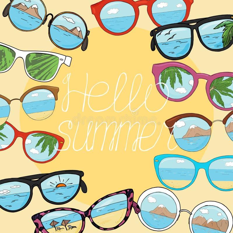 Quadro com os óculos de sol diferentes com espaço da cópia Vidros com reflexão da praia, das montanhas, do mar e das palmeiras ilustração do vetor