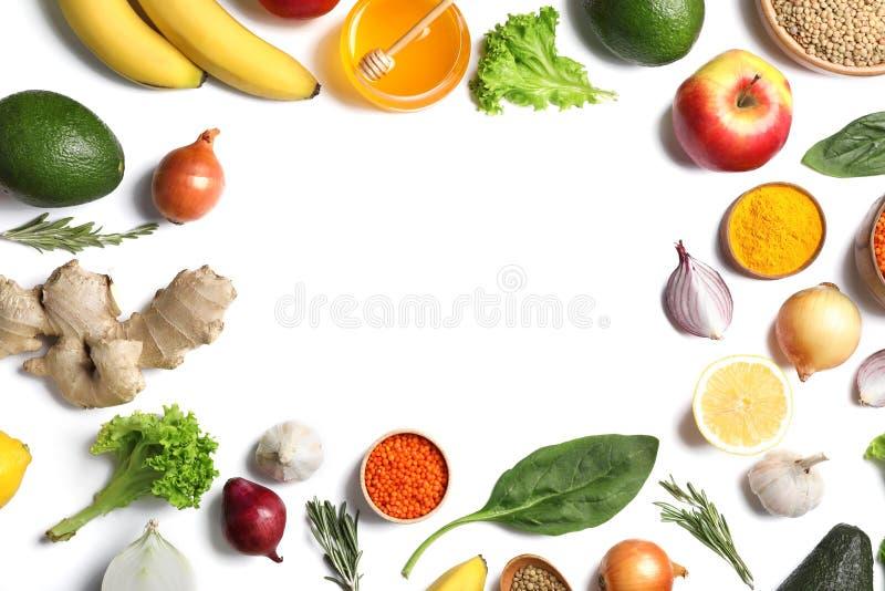 Quadro com os produtos naturais como em casa remédios para a asma foto de stock royalty free