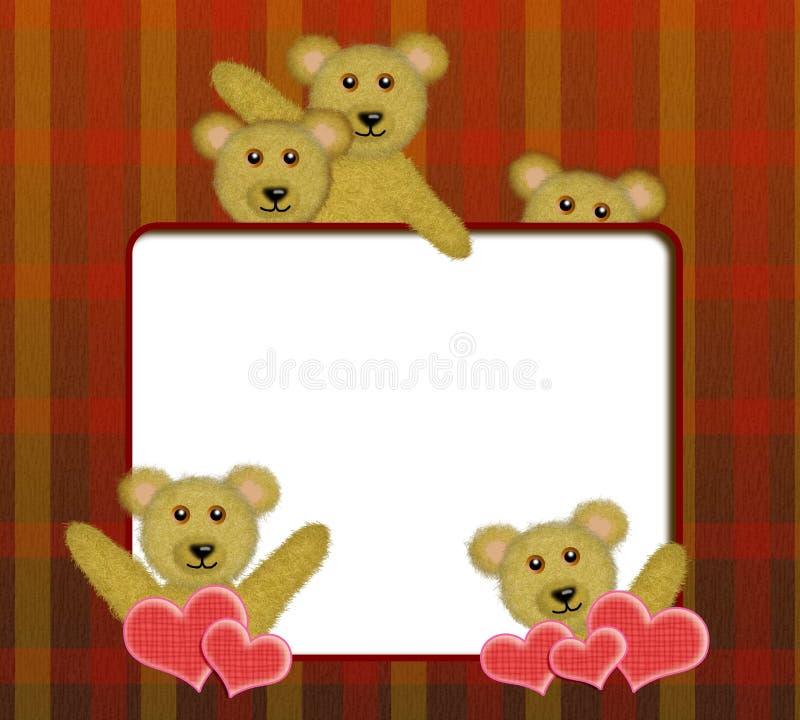 Quadro com os ursos de peluche bonitos ilustração royalty free