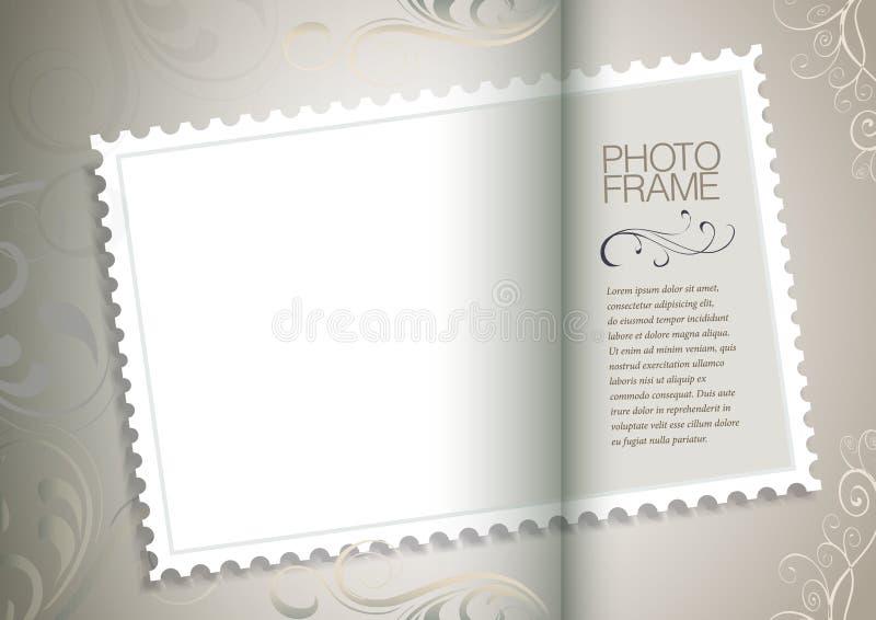 Quadro com papel e selo postal velhos ilustração royalty free