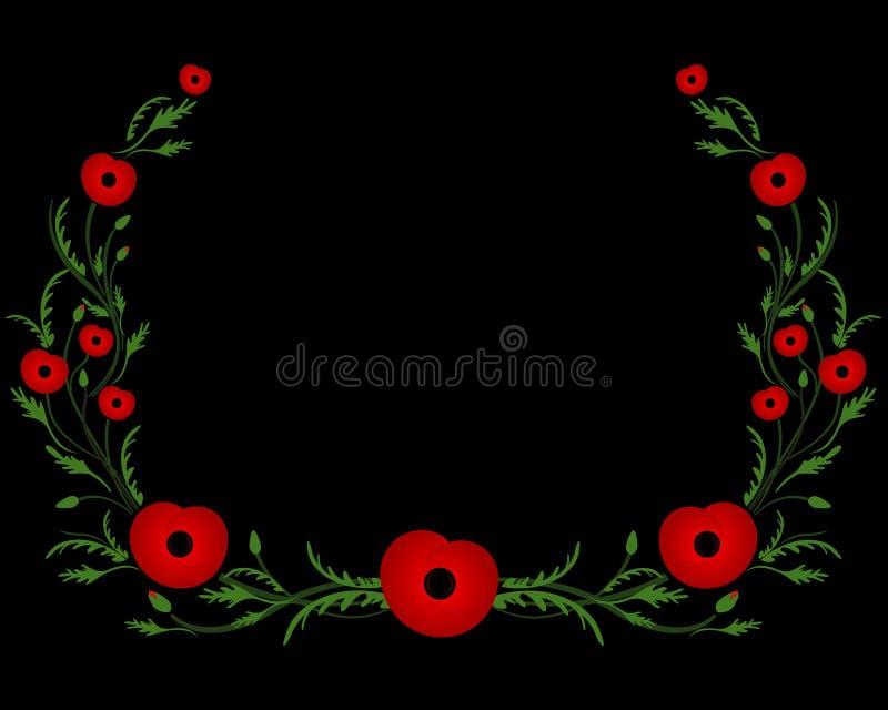 Quadro com papoila vermelha Segunda guerra mundial, símbolo comemorativo foto de stock royalty free