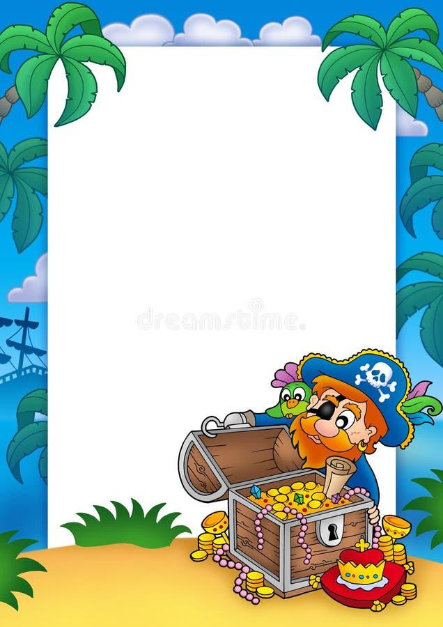 Quadro com pirata e tesouro ilustração stock