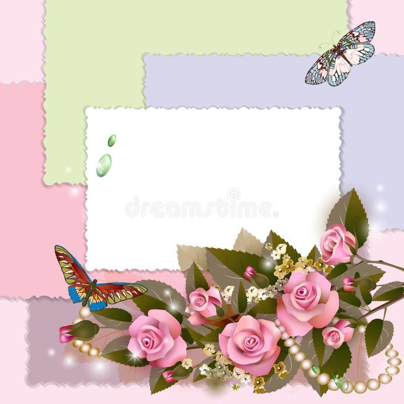 Quadro com rosas cor-de-rosa ilustração stock