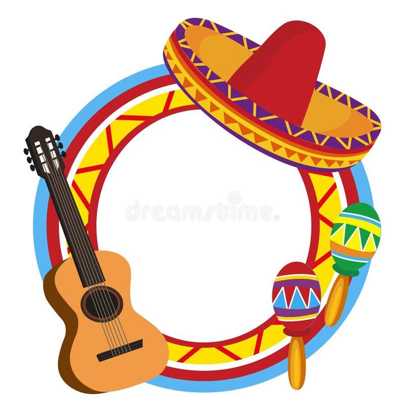 Quadro com símbolos mexicanos ilustração do vetor