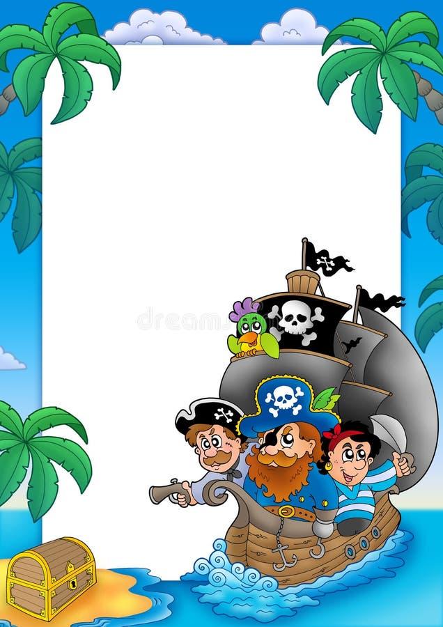 Quadro com sailboat e piratas ilustração do vetor