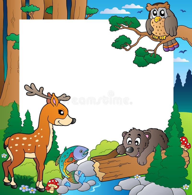 Quadro com tema 1 da floresta ilustração stock