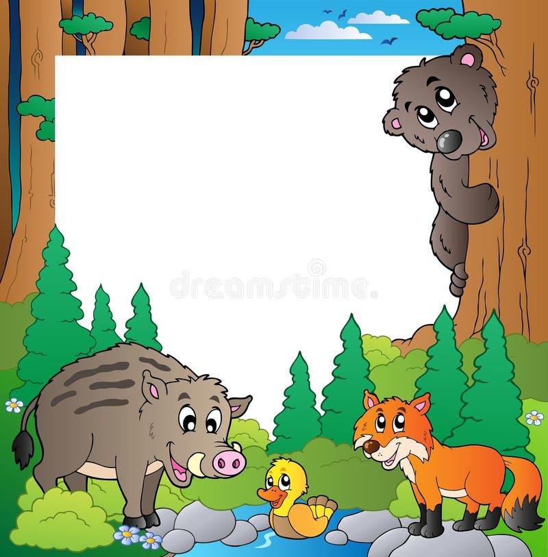 Quadro com tema 2 da floresta ilustração royalty free