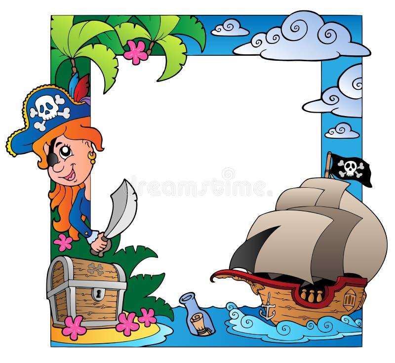 Quadro com tema 3 do mar e do pirata ilustração stock