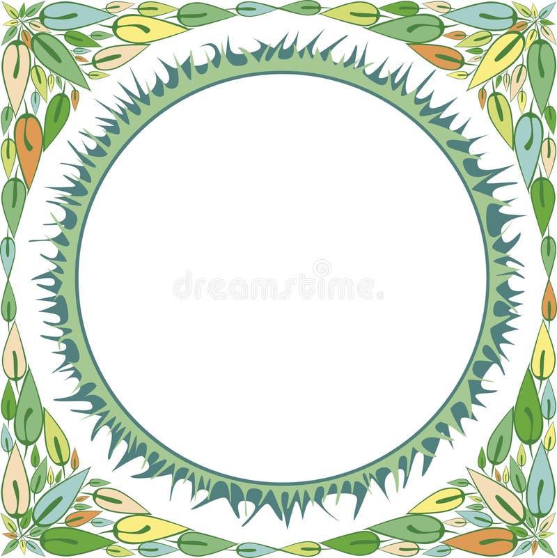 Quadro com um ornamento de suas folhas e grama imagens de stock royalty free