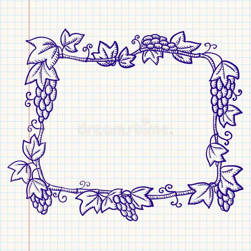 Quadro com uva ilustração royalty free