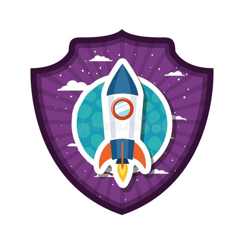 Quadro com voo do foguete e planeta do sistema solar ilustração do vetor