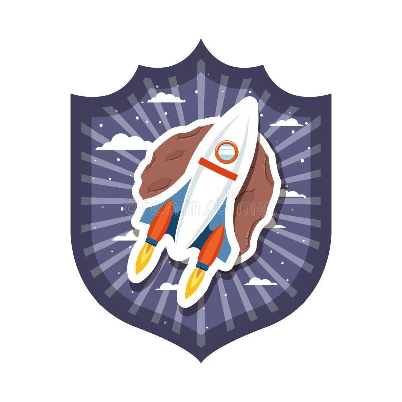 Quadro com voo do foguete e planeta do sistema solar ilustração royalty free