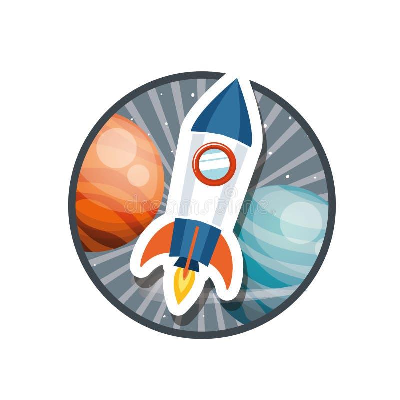 Quadro com voo do foguete e planetas do sistema solar ilustração stock