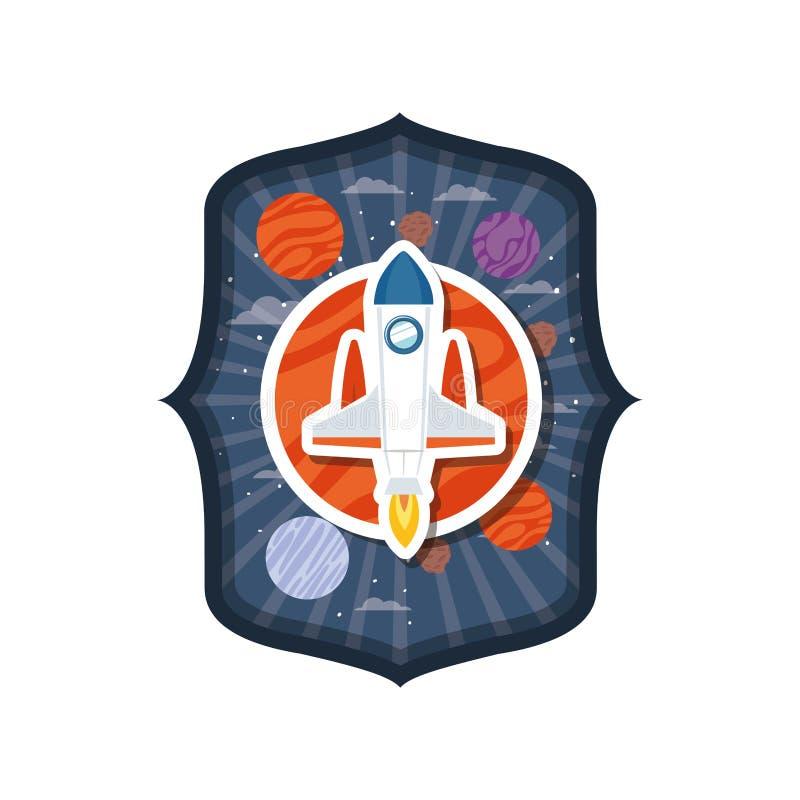 Quadro com voo do foguete e planetas do sistema solar ilustração royalty free