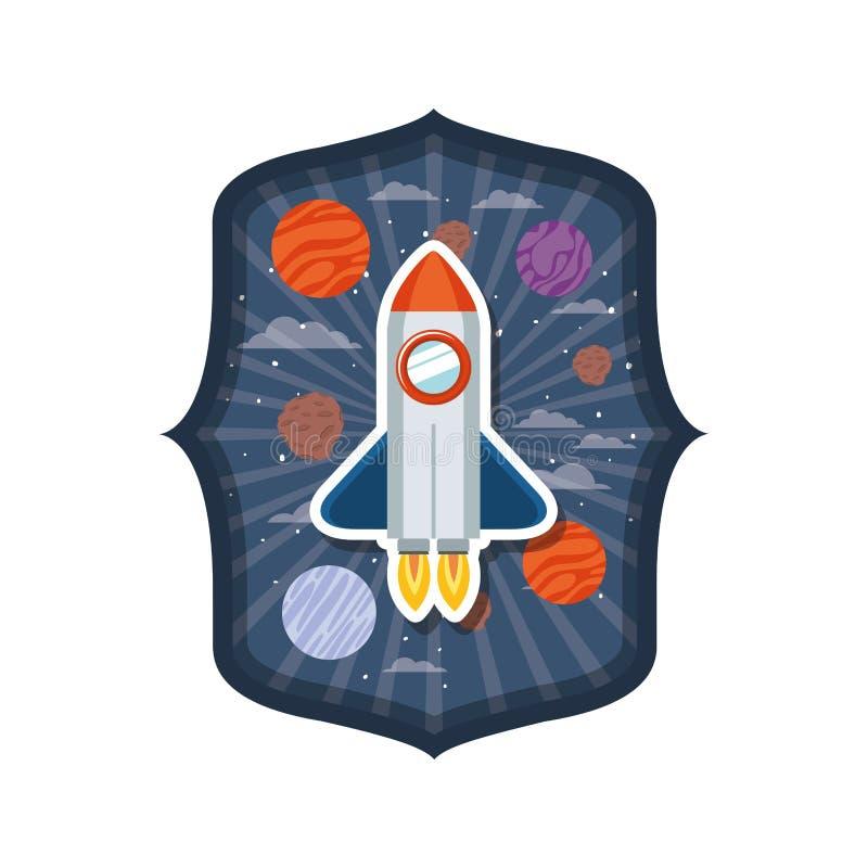 Quadro com voo do foguete e planetas do sistema solar ilustração do vetor