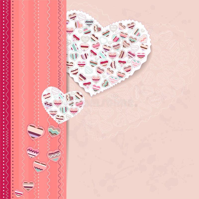 Quadro cor-de-rosa com corações do contorno ilustração royalty free