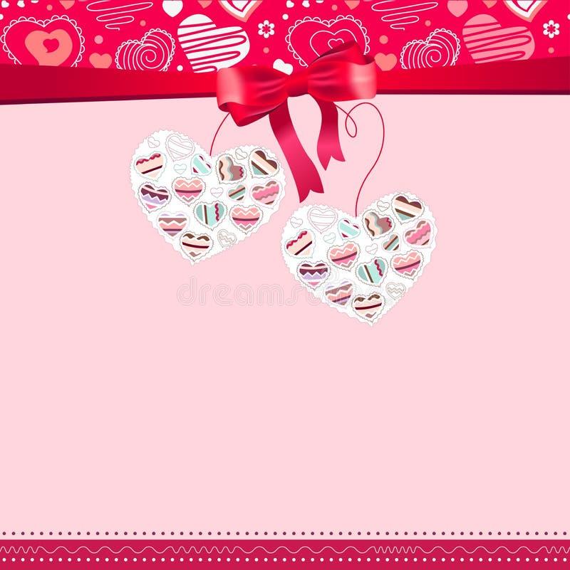Quadro cor-de-rosa com corações do contorno ilustração do vetor