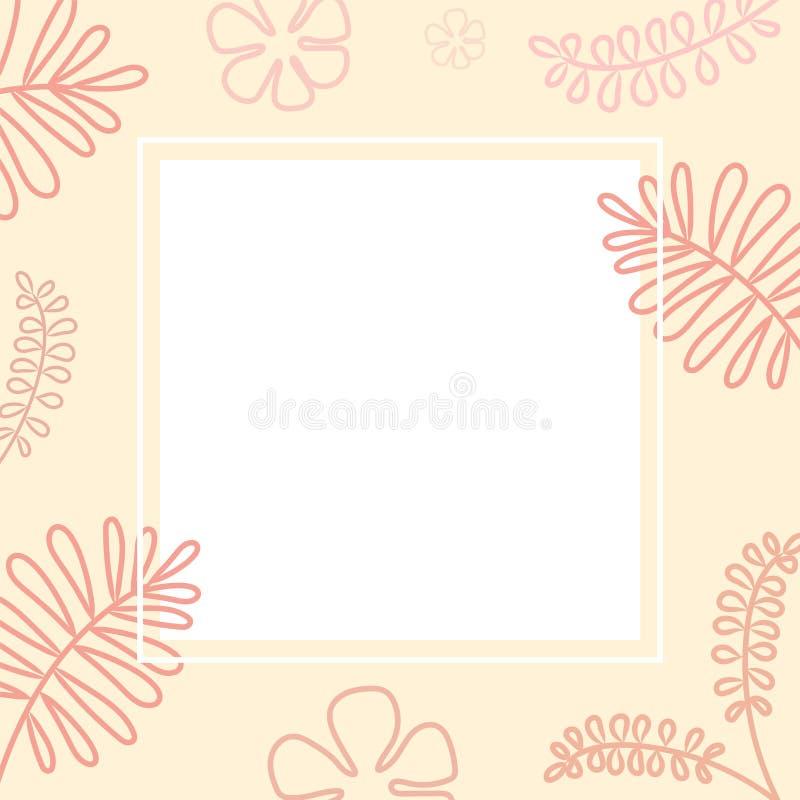 Quadro cor-de-rosa com flores e folhas ilustração stock