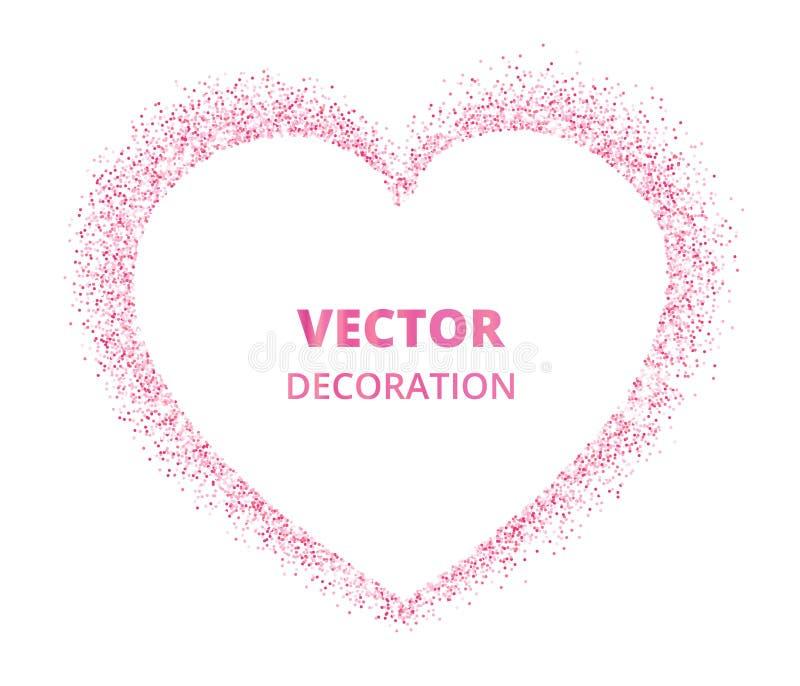 Quadro cor-de-rosa do coração do brilho, beira Poeira do vetor isolada no branco ilustração do vetor
