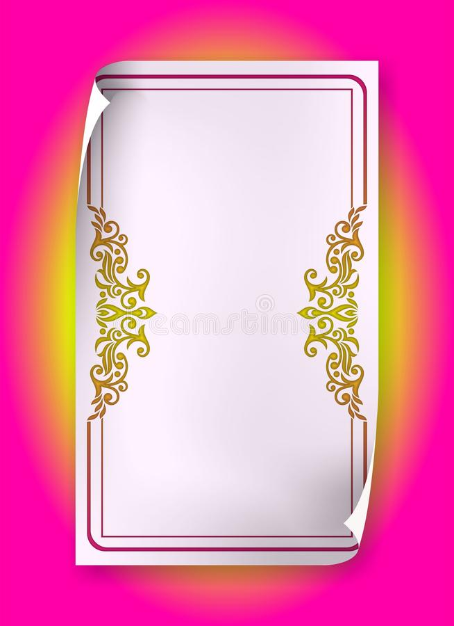 Quadro cor-de-rosa do vintage com redemoinhos e paisley no papel da onda ilustração stock