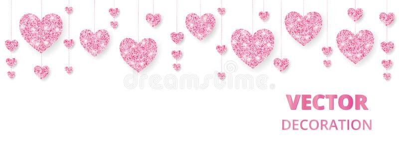 Quadro cor-de-rosa dos corações, beira Brilho do vetor isolado no branco Para a decoração cartões do dia do Valentim e de mães, c ilustração stock