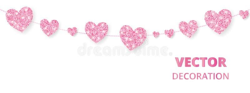 Quadro cor-de-rosa dos corações, beira sem emenda Brilho do vetor isolado no branco Para a decoração cartões do dia do Valentim e ilustração stock