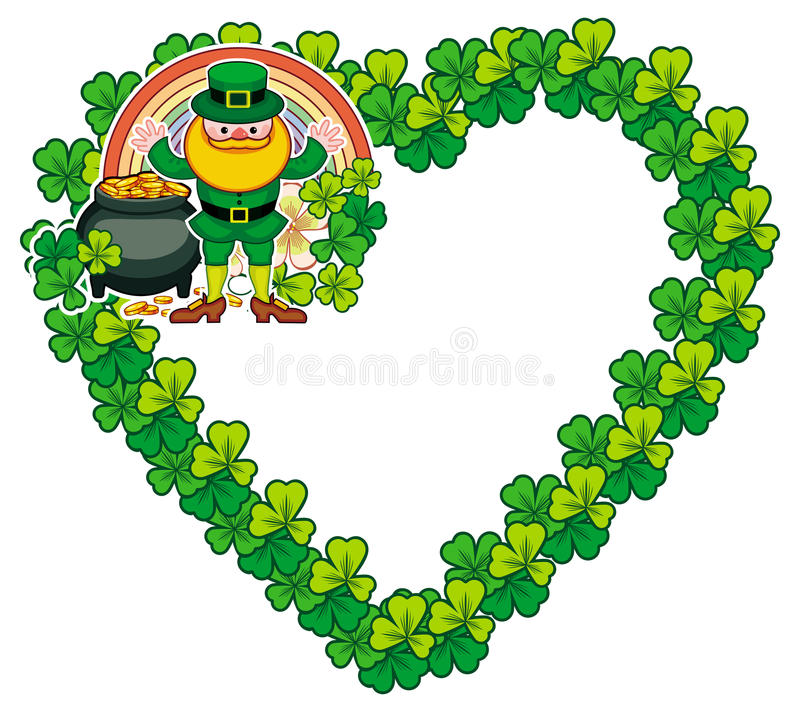 Quadro coração-dado forma engraçado com trevo e duende Clipart da quadriculação ilustração royalty free