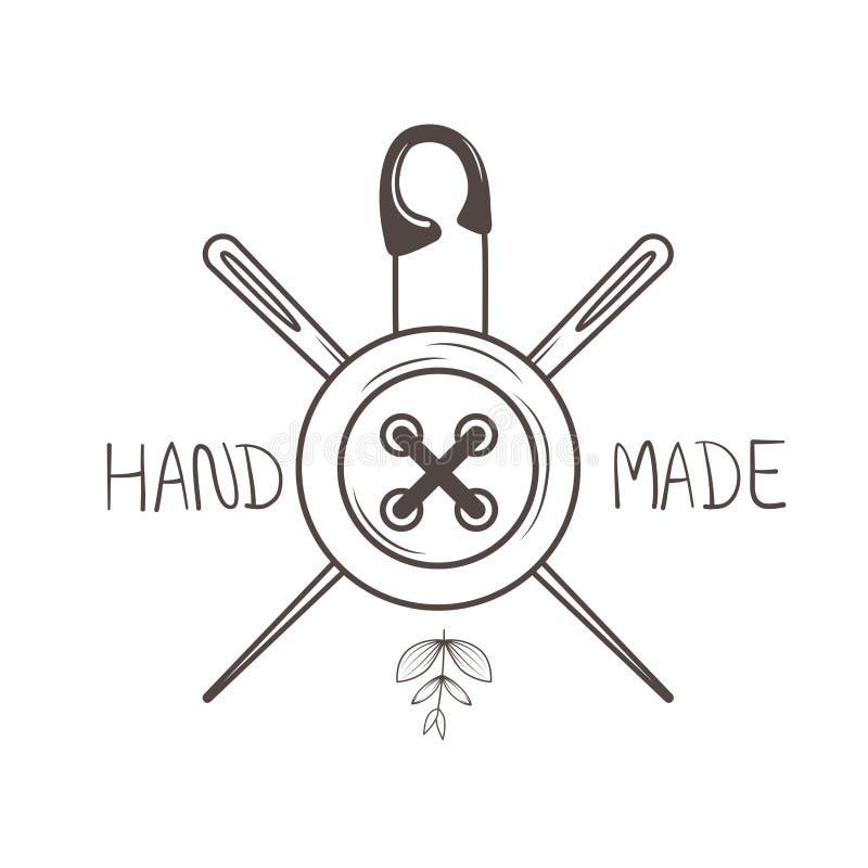 Quadro costurando feito à mão com botão e agulhas ilustração stock
