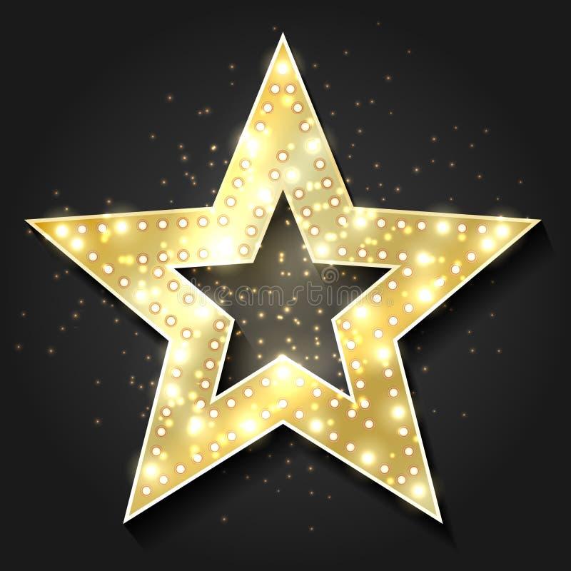 Quadro 3d retro da forma das estrelas com luzes Elemento do projeto da estrela de cinema de hollywood do vetor ilustração do vetor