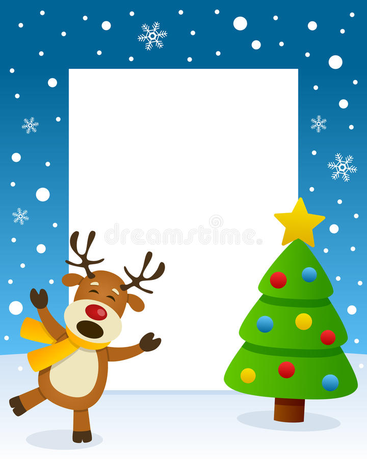 Quadro da árvore de Natal com rena feliz ilustração do vetor