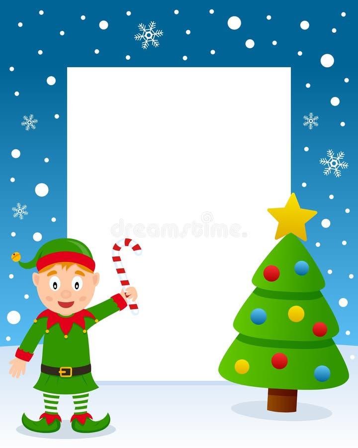 Quadro da árvore de Natal - duende verde feliz ilustração do vetor