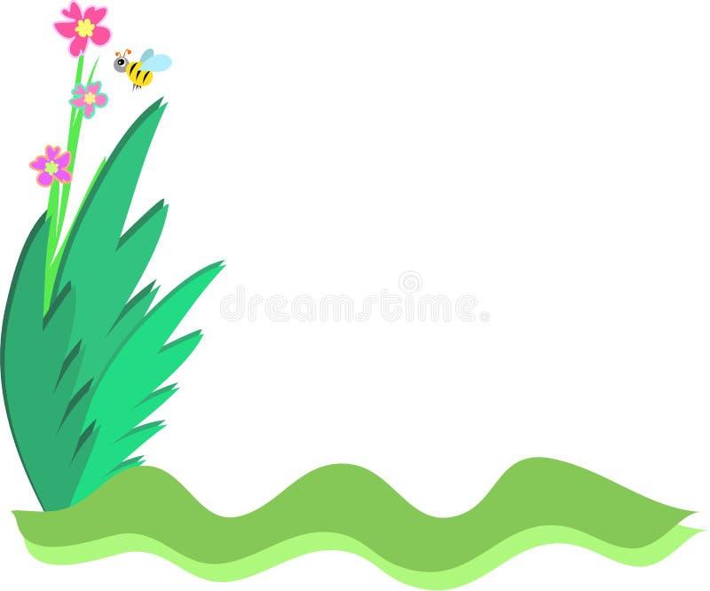 Quadro da abelha e das plantas ilustração do vetor