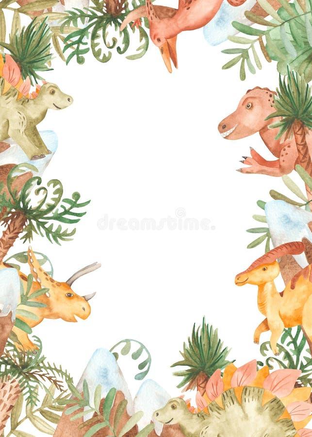 Quadro da aquarela com dinossauros e as plantas pré-históricas ilustração stock
