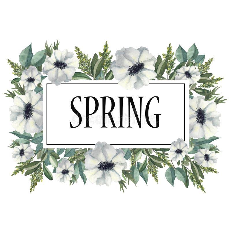 Quadro da aquarela das flores e dos ramos com folhas verdes ilustração stock