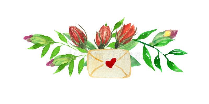 Quadro da aquarela de flores em botão - rosas, crox com folhas e envelope o ilustração royalty free