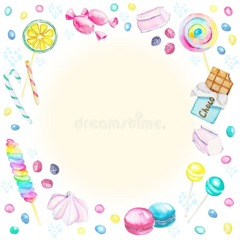 Quadro da aquarela dos doces ilustração stock