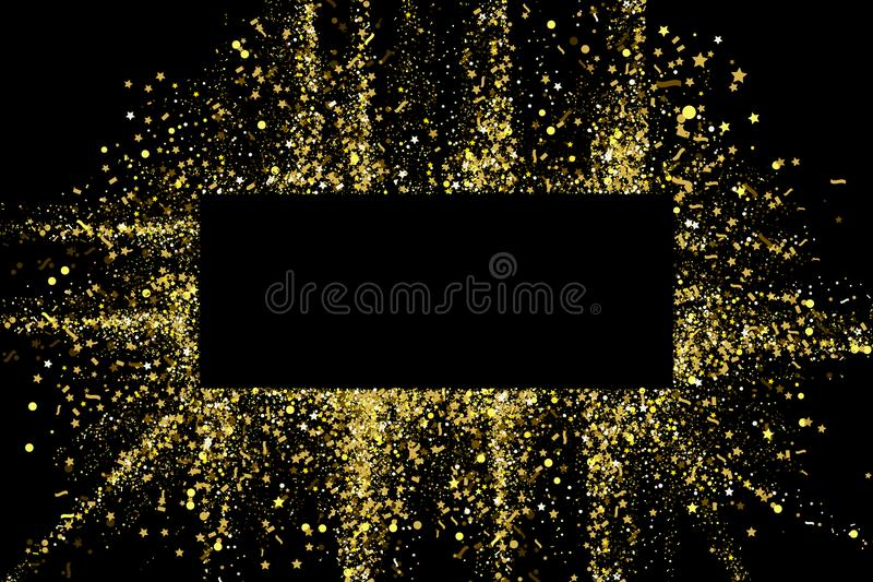 Quadro da bandeira da textura dos confetes do partido do brilho do ouro com lugar para o texto em um fundo preto Explosão dourada ilustração royalty free