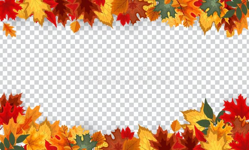 Quadro da beira das folhas de outono com texto do espaço no fundo transparente Pode ser usado para a ação de graças, holida da co ilustração royalty free