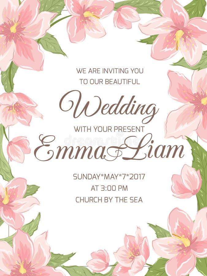 Quadro da beira de sakura da magnólia do convite do casamento ilustração stock