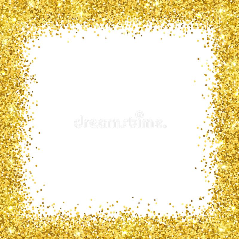 Quadro da beira do brilho do ouro no backround branco Vetor ilustração stock