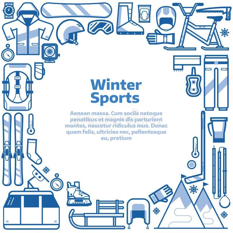 Quadro da beira do estilo de vida dos esportes de inverno ilustração stock