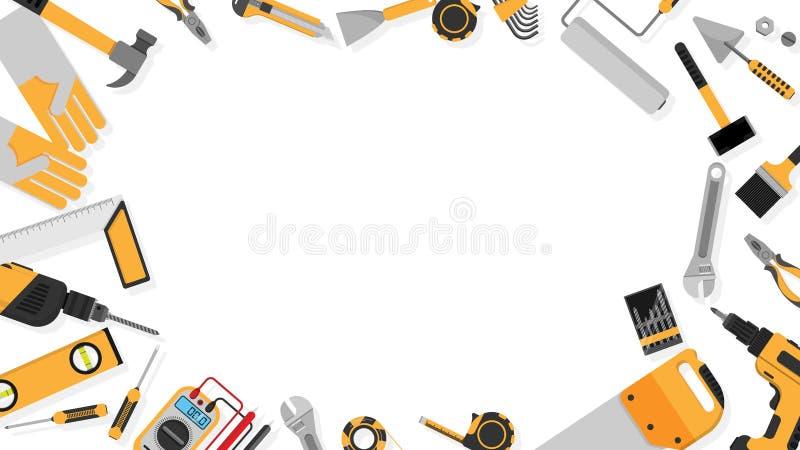 Quadro da beira do grupo de ferramentas preto-amarelo da cor como o fundo com espaço vazio da cópia para seu texto ilustração do  ilustração stock