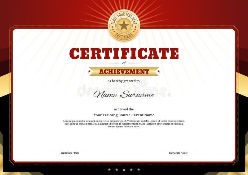 Quadro da beira do molde do certificado, projeto do diploma para o evento desportivo ilustração do vetor