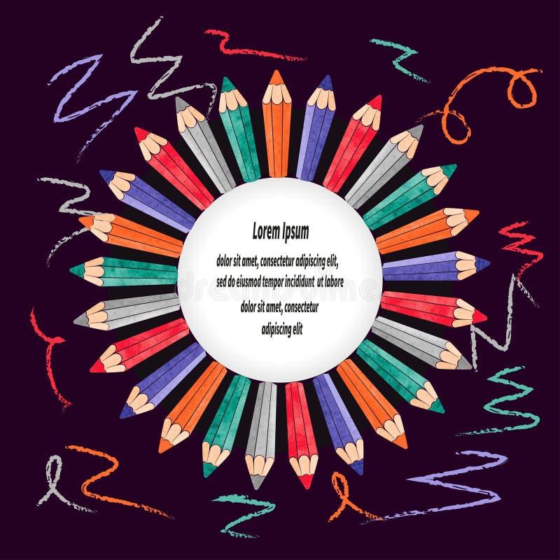 Quadro da beira do vetor com lápis coloridos Certificado do ` s das crianças ilustração royalty free