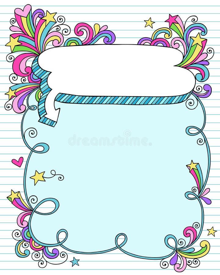Quadro da bolha do discurso do doodle do caderno ilustração do vetor