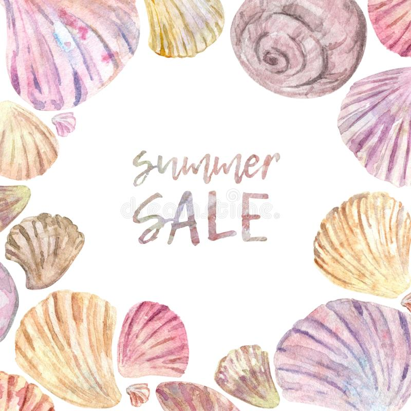 Quadro da concha do mar da aquarela ilustração stock