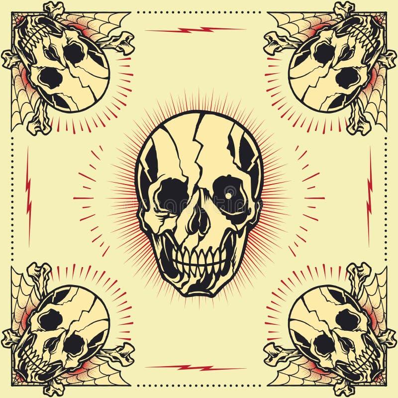 Quadro da cruz do osso do crânio ilustração do vetor