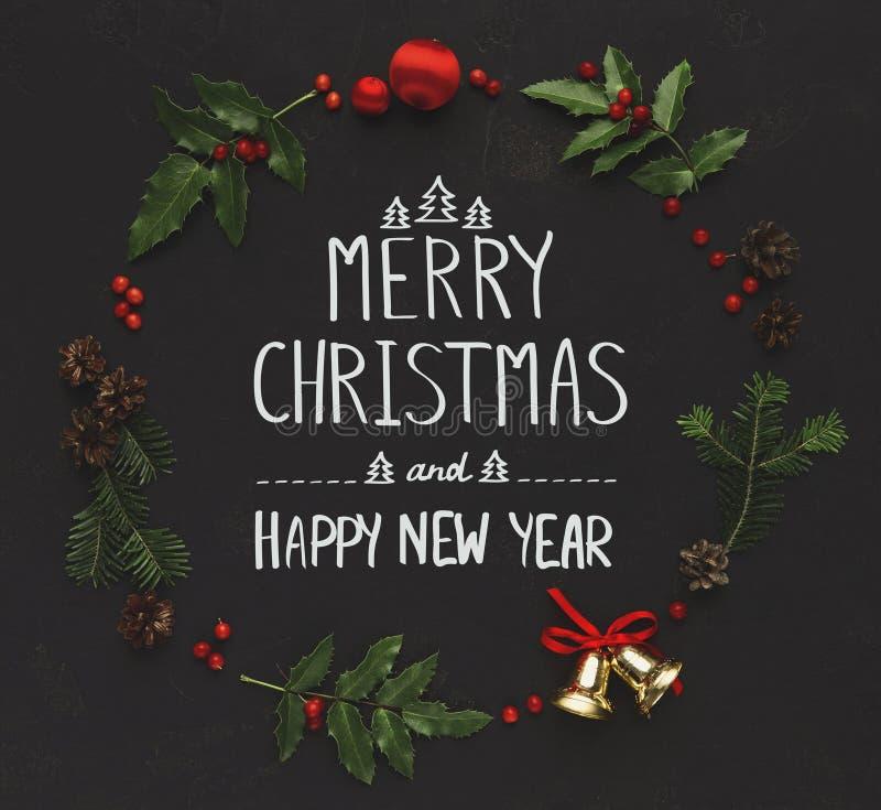 Quadro da decoração do Natal no fundo preto fotos de stock royalty free