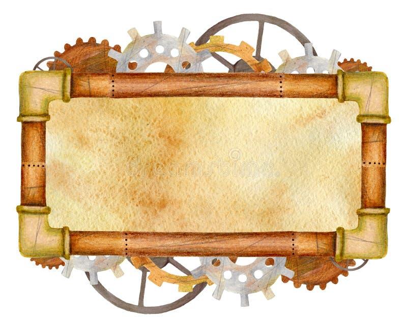 Quadro da engrenagem do retângulo de Steampunk com tubulações fotografia de stock