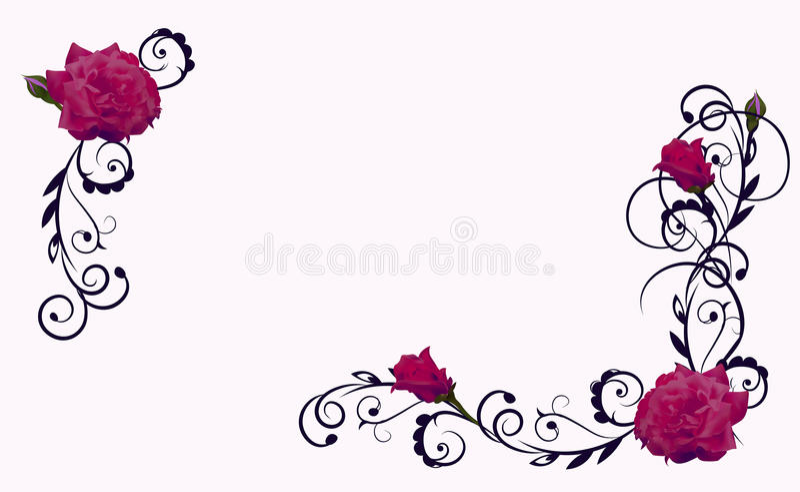 Quadro da flor com rosa do vermelho ilustração stock